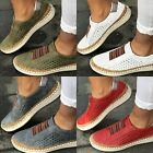 Womens Summer Slip On Low-cut Vulcanize Flat Trainers Casual Shoes Size 4.5 US