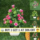Realistic Artificial Potted Rose Flowers Plants In Pot Outdoor Garden Home Decor