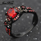 Round Cut Red Ruby Flower Engagement Ring Black Gold Jewelry For Women Size 5-11