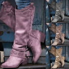 Winter Women Faux Suede Boots Pointed Toe Mid-calf Boot Flat Shoes Snow Boots