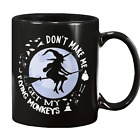 Witch Riding Broom Funny Halloween Coffee Mug Witches Flying Monkeys Moon Cup