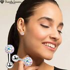 Colourful Crystal Round Ball Screw Back Surgical Steel Stud Earrings Jewelry