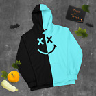 Color Split Black and Aqua Hoodie With Smile Face