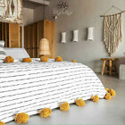 Moroccan Pom Pom Blanket Cotton Bed spread Throw Twin Queen Full Bed coverbed