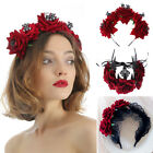 Hair Accessories Halloween Headbands Red Rose Crown Hair Wreath Wedding Garland