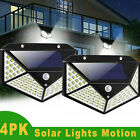 4x 100LED Solar Luz de Pared Sensor de Movimiento Lámpara Exterior Impermeable