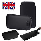 Black Leather Slim Pull Tab Phone Cover Sleeve Pouch For Energizer Energy E12
