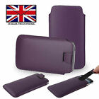 Purple Leather Slim Pull Tab Phone Cover Pocket Pouch - Energizer Hardcase H591S