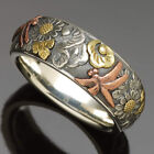 Handmade Women Two Tone 925 Silver Flower Dragonfly Animal Ring Jewelry Size5-10