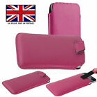Pink Leather Slim Pull Tab Phone Cover Pocket Pouch For Energizer Hardcase H10