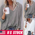 Women V-neck Knitted Sweater Pullover Long Sleeve Sexy Off Shoulder Loose Top
