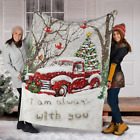 I Am Always With You Red Truck Cardinal Christmas Tree Sherpa Fleece Blanket