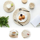 Rattan Weave Round Placemat Dining Table Heat Insulation Mat Kitchen Decor
