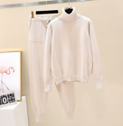 Womens Cashmere Knitted Turtleneck Sweater Pants 2Pcs Casual Knitwear Suit Feng8