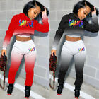 New Women Gradient Letter Print Hoodie Long Sleeve Casual Sporty Tracksuit 2pcs