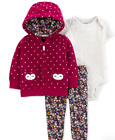 7-Styles of Carter's Baby Girls 3 Pc Set Fleece Hoodie, Bodysuit and Pants