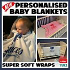 Personalised Soft Baby Blanket Baby Boy Girl New-born Swaddle Wrap Gift Present