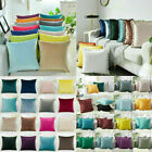 "Velvet Plain Cushion Covers Pillow Cases Home Sofa Decor 16"" 18"" 20"" 22"" 24"" Uk"