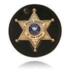 Boston Leather 3.75 Circle Recessed Badge Holder with Clip