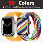Nylon Braided Solo Loop Strap For Apple Watch Series 6 Se 5 4 3 2 44/40/38/42 Mm