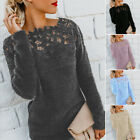 Women Long Sleeve Solid Color O Neck Floral Lace Pullover Plus Size Sweater