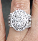 Deal! 3.00CT Genuine Cluster Round Diamond Oval Engagement Bridal Ring 14K Gold