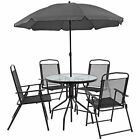 Flash Furniture Nantucket 6 Piece Black Patio Garden Set With Table Umbrella An