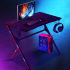 Gaming Desk PC Computer Office Table w/ Cup Holder & Headphone Hook...