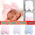 Newborn Baby Hat With Bow Infant Girl Boy Beanie Cap Elastic Toddler Turban Hats