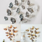 12pcs/set Diy 3d Butterfly Stickers Metallic Wall Art Home Decoration Party