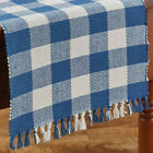 Wicklow China Blue Buffalo Check Woven Cotton Country Farmhouse Table Runner