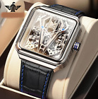 Automatic Watch Men Skeleton Mechanical Watch Steampunk Sapphire Crystal Square