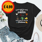I Just Want To Work In My Garden And Hang Out With Chickens Top Ladies Tshirt #D