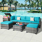 8 Pcs Outdoor Patio Sofa Sets Rattan Wicker Sectional Cushioned Couch Furniture