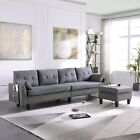 4 Seaters Sectional Sofa/Couch with Storage Ottoman Pillows Upholstered Fabric