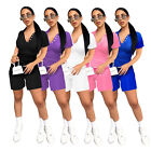 Summer Fashion Women Casual Solid Color Lapel Neck Sporty Shorts Outfits 2pcs