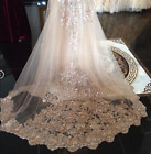 Sequin Wedding Veils Luxury Cathedral Bridal Veils Appliques Lace Edge with Comb