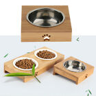Cat Bowls with Bamboo Stand Pet Dining Table Cat Feeder with Raised Bamboo Stand