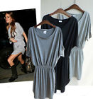 d4 Celebrity style Smocking waist BOHO loose mini dress