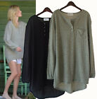 lt154 Celebrity Style Long Cropped SUper Cozy tunic top