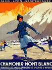 FRENCH CHAMONIX MONT BLANC WINTER SPORTS ICE SKATING VINTAGE POSTER REPRO