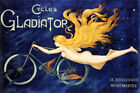 GLADIATOR BLOND GIRL FLYING RIDING BICYCLE CYCLES FRENCH VINTAGE POSTER REPRO