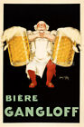 BIERE GANGLOFF WAITER WITH TWO BIG BEER MUG PITCHER FRENCH VINTAGE POSTER REPRO