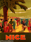 FRENCH RIVIERA NICE BEACH FASHION FRANCE TRAVEL TOURISM VINTAGE POSTER REPRO