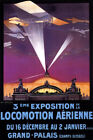 AIRPLANE CHAMPS ELYSEES PARIS AVIATION EXHIBITION FRENCH VINTAGE POSTER REPRO