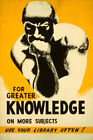 AMERICAN GREAT KNOWLEDGE BOOK USE YOUR LIBRARY RODIN THINKER VINTAGE POSTER REPO