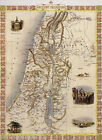 1800'S MAP ANCIENT PALESTINE TEMPLE VINTAGE POSTER REPRO