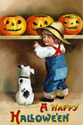 A HAPPY HALLOWEEN BOY DOG PUMPKINS CARVING SCARY FACE VINTAGE POSTER REPRO