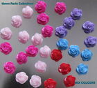 BUY 1 GET 1 FREE - 12 RESIN CABOCHONS 15MM ROSE SHAPED PINK/LILAC/RED MIX