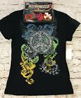 New L, XL PEACE SIGN SHIRT Black T Shirt, Glitter Graphics +24 FREE Bracelets